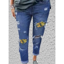 Women's Jeans Slim Floral Letter Mid Waist Daily Cut out Jeans