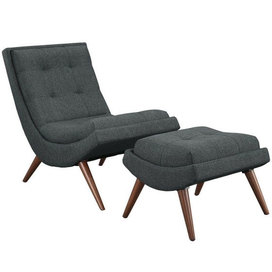 Ramp Modern Upholstered Lounge Chair And Ottoman With Wood Frame - Gray