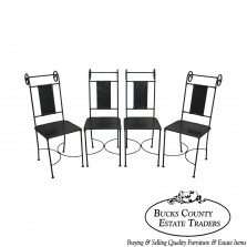 Wrought Iron & Leather Set of 4 Dining Chairs