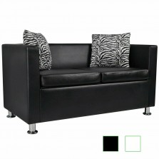 2-Seater Sofa Artificial Leather Loveseat with Pillow Living Room  Furniture