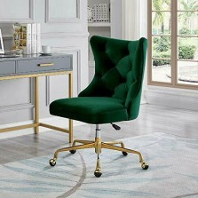 24KF Velvet Upholstered Tufted Button  Office Chair with Golden l Bas...
