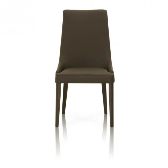 Saltoro Sherpi Leatherette Dining Chairs With Wooden Legs Set Of 2 Dark Umber