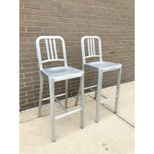 2 Em Navy Chair BARTSOOLS Brushed Aluminum  Cleaned W/ FREE SHIPPING!