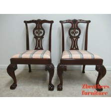 2  Furniture Mahogany  Claw Chippendale Dining Room Side Chairs B