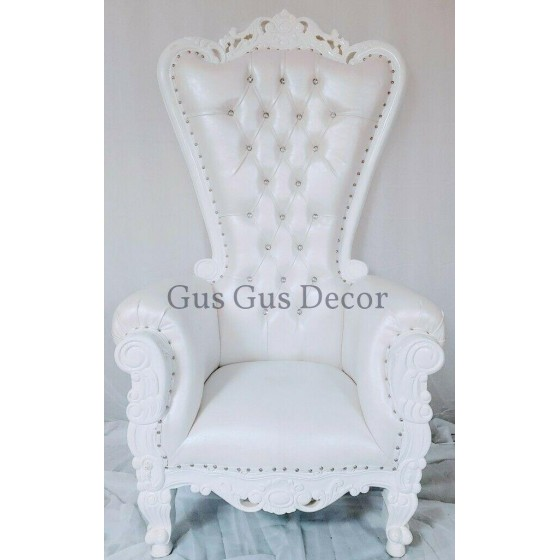 Queen 70in Throne Chair  vinyl with  finish
