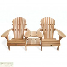 2 Adirondack Chairs Side By Side Attached Table Red Cedar Comfort Seat Back New