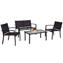 4 Piece Patio Set With Sling Chairs and Coffee Table