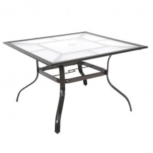 42 In. Commercial Aluminum Square Outdoor Patio Acrylic Top Dining Table In Brow