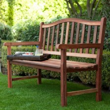 Outdoor Wooden Bench 4 ft. Patio House Furniture Curved Back