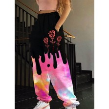 Women's Joggers Color Block Floral Straight Mid Waist Full Length  ocket Casual Joggers