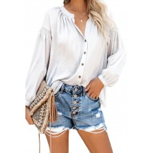 Inspired Button Up Peas t Top