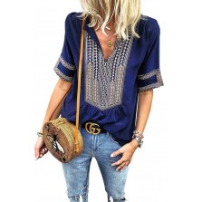 Elbow Length Sleeves Front Embroi ry Blouse