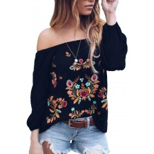 Embroi red Off Shoul r Long Sleeve Bohemian Floral Blouse