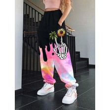 Women's Joggers Straight Floral Color Block Mid Waist Dail  Full Length Pocket Joggers