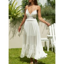 Women's Dress Solid Fit   Flare Sleeveless Spaghetti Open-back Cut-out Summer Daily Vacation Maxi Dress
