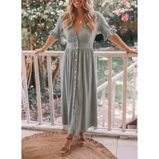 Women's Maxi Dress Solid A line V Neck Half Sleeve Ruffle Button Daily Casual Maxi Dress