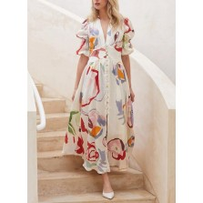 Women's Dress Color Block Fit   Flare V Neck Short Sleeve Button Summer Daily Casual Maxi Dress