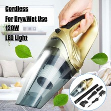 120W High Power Handheld Cordless Car Home Vacuum Cleaner Portable Quiet Dry&Wet Use with LED Light
