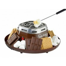 Electric Smores Maker Toast Marshmallow Roast 4 compartment Serving Tray Fork