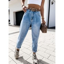 Women's Jeans Straight High Waist Ankle length Pocket Casual Jeans