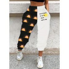 Women's Joggers Letter Color Block Rainbow Straight Mid Waist Ankle length Casual Sporty Joggers