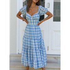 Women's Maxi Dress Plaid Fit   Flare V Neck Short Sleeve Open-back Summer Daily Casual Maxi Dress